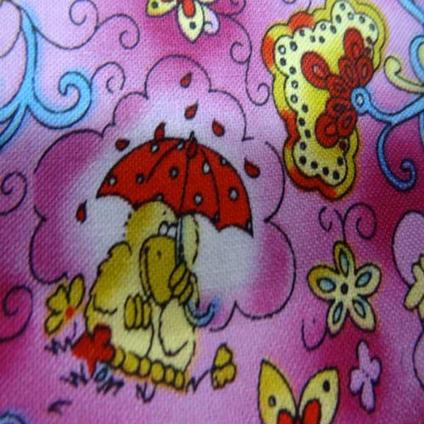 Coton rose imprime canard en 1 40m de large4