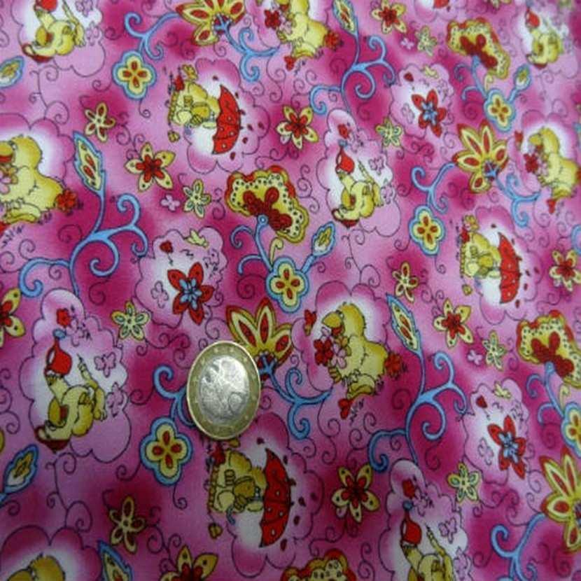 Coton rose imprime canard en 1 40m de large8