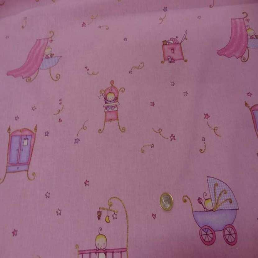 Coton rose imprime enfant pour les petits