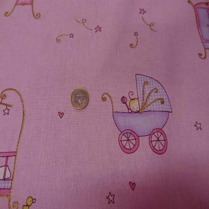 Coton rose imprime enfant pour les petits1