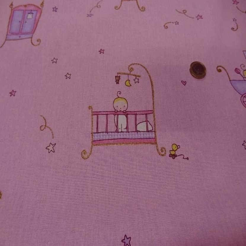 Coton rose imprime enfant pour les petits6