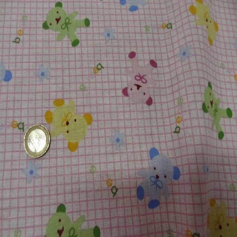 Coton ton rose enfant a carreaux motif ourson1