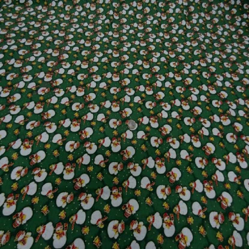 Coton ton vert imprime bonhomme de neige blanc7