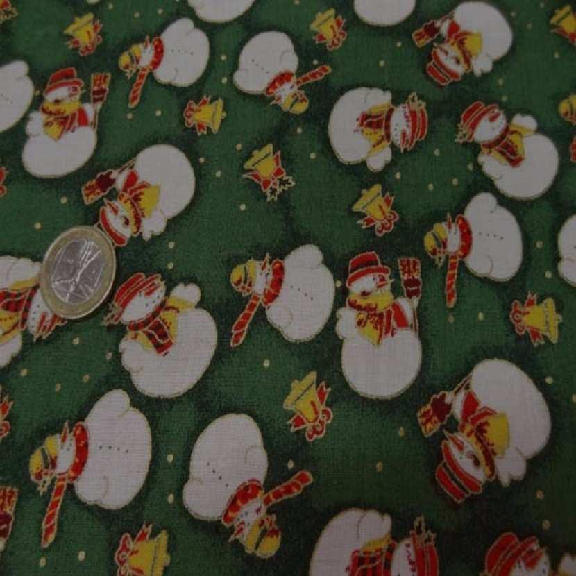Coton ton vert imprime bonhomme de neige blanc8