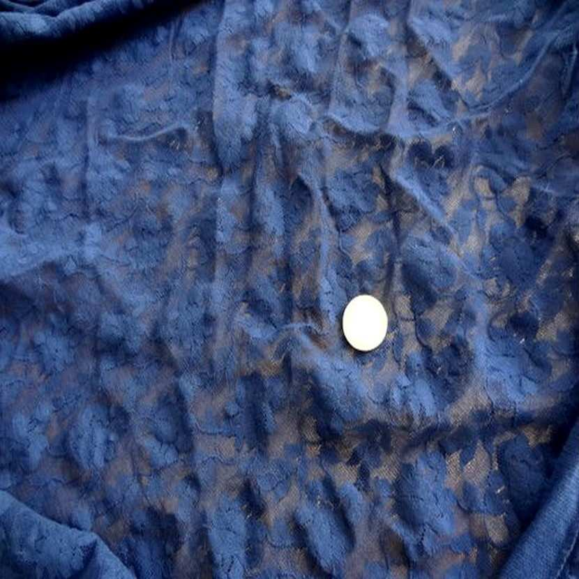 Coupon de 2 m de resille lycra dentelle bleu klein