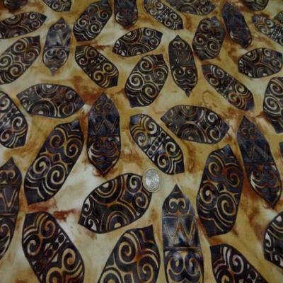 Coupon de batik motif masque africain ton beige marron 1 60m