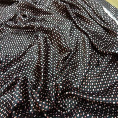 Coupon de beau satin noir imprime 1 50m