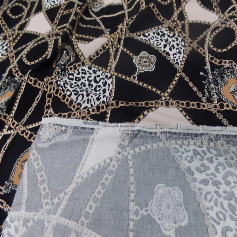 Coupon de gabardine coton lycra noire imprime dore 1 80m7