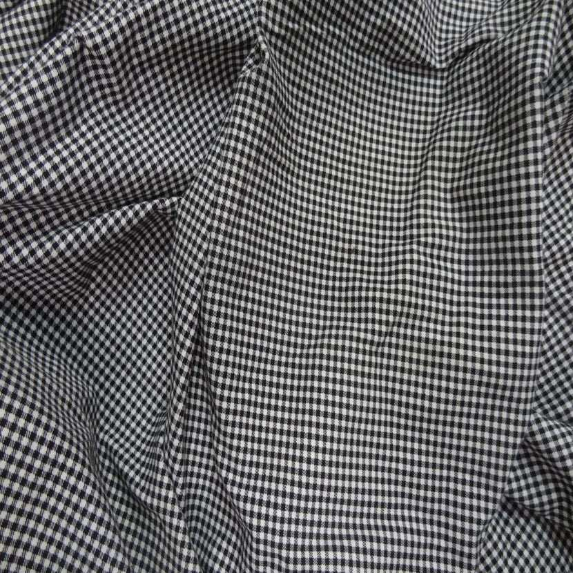 Coupon de jersey coton lycra imprime vichy noir et blanc 2 70m4