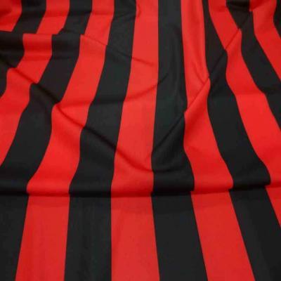 Coupon de jersey polyester a bandes rouge et noire 4m