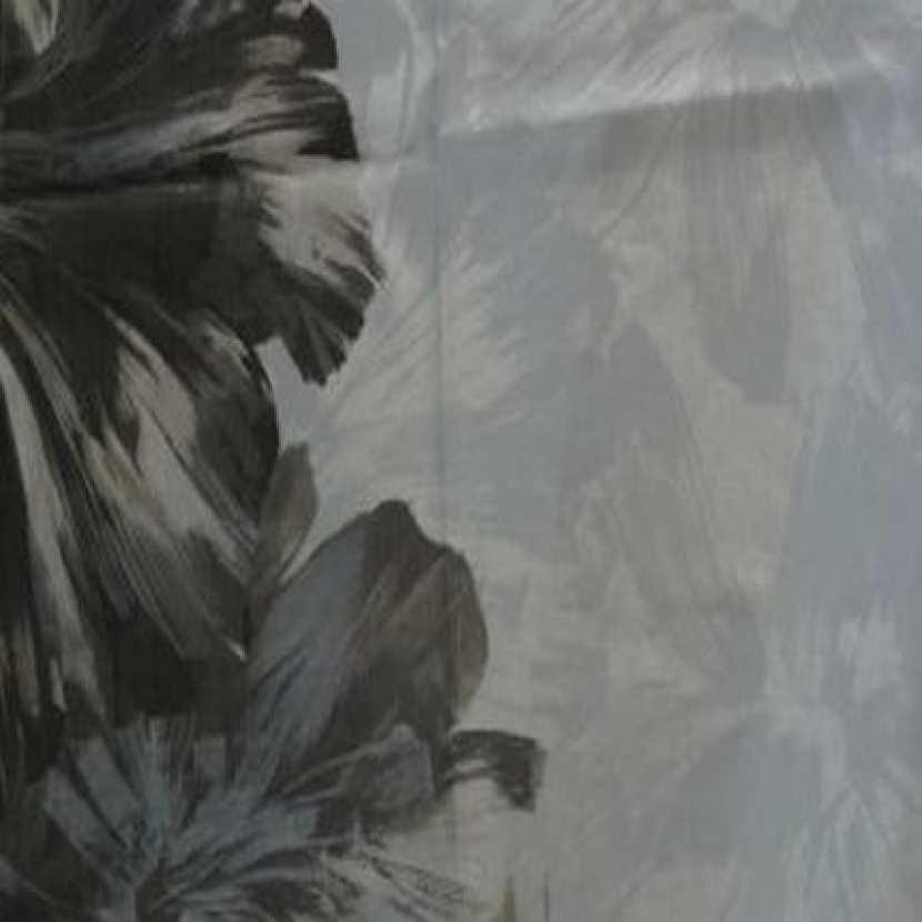 Coupon de lin blanc imprime gris beige et taupe 1 80m01