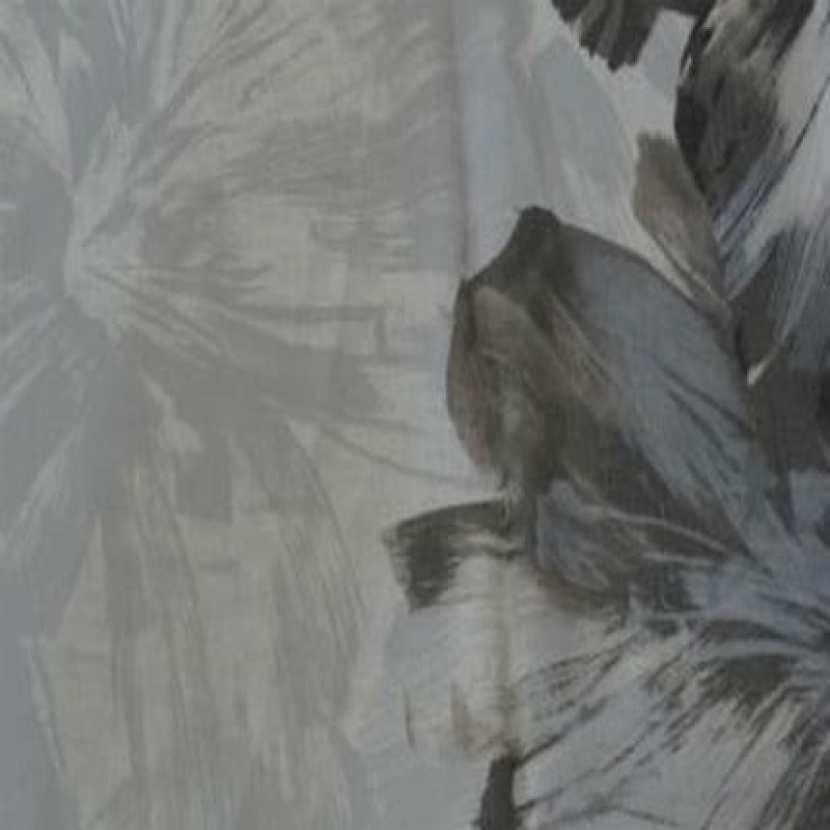 Coupon de lin blanc imprime gris beige et taupe 1 80m2