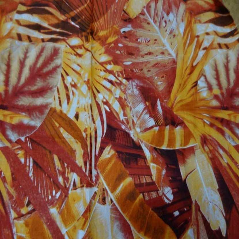 Coupon de lin imprime orange rouille