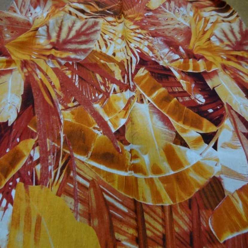 Coupon de lin imprime orange rouille1
