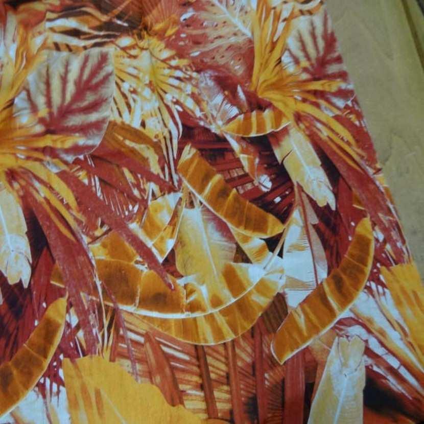 Coupon de lin imprime orange rouille8