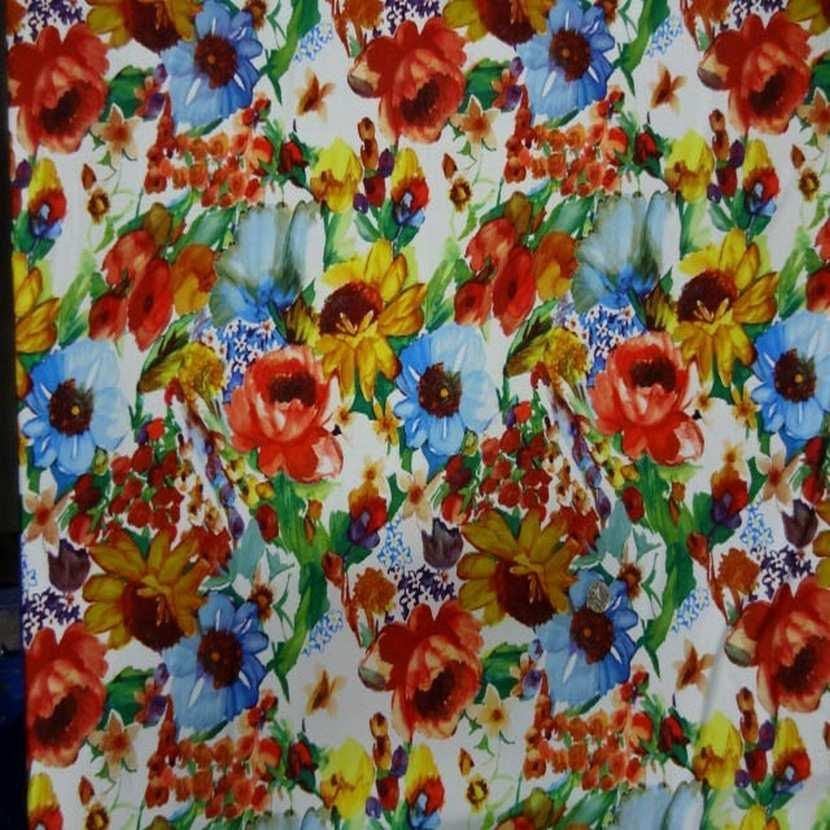 Coupon de lycra blanc imprime fleurs 3 45m