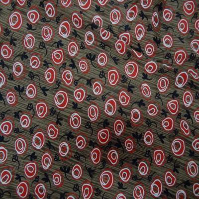 Coupon de lycra imprime marron rouge noir et blanc 1 80m