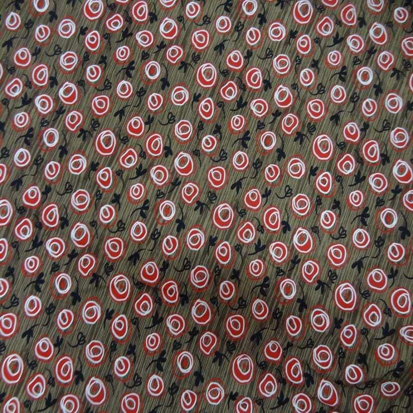 Coupon de lycra imprime marron rouge noir et blanc 1 80m2