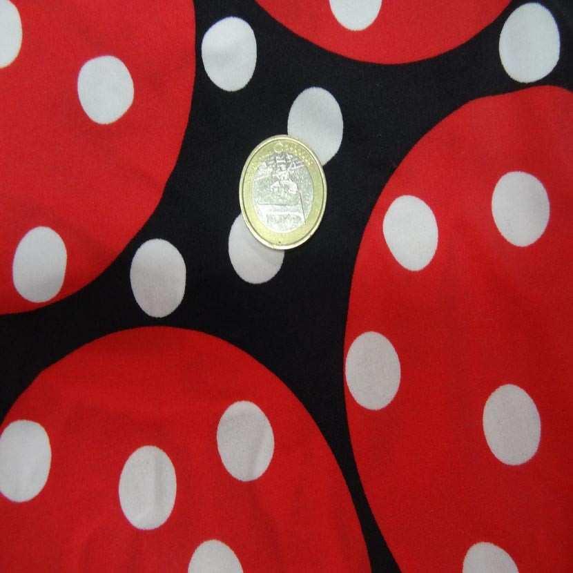 Coupon de lycra imprime ton noir rouge a pois blanc 1m7