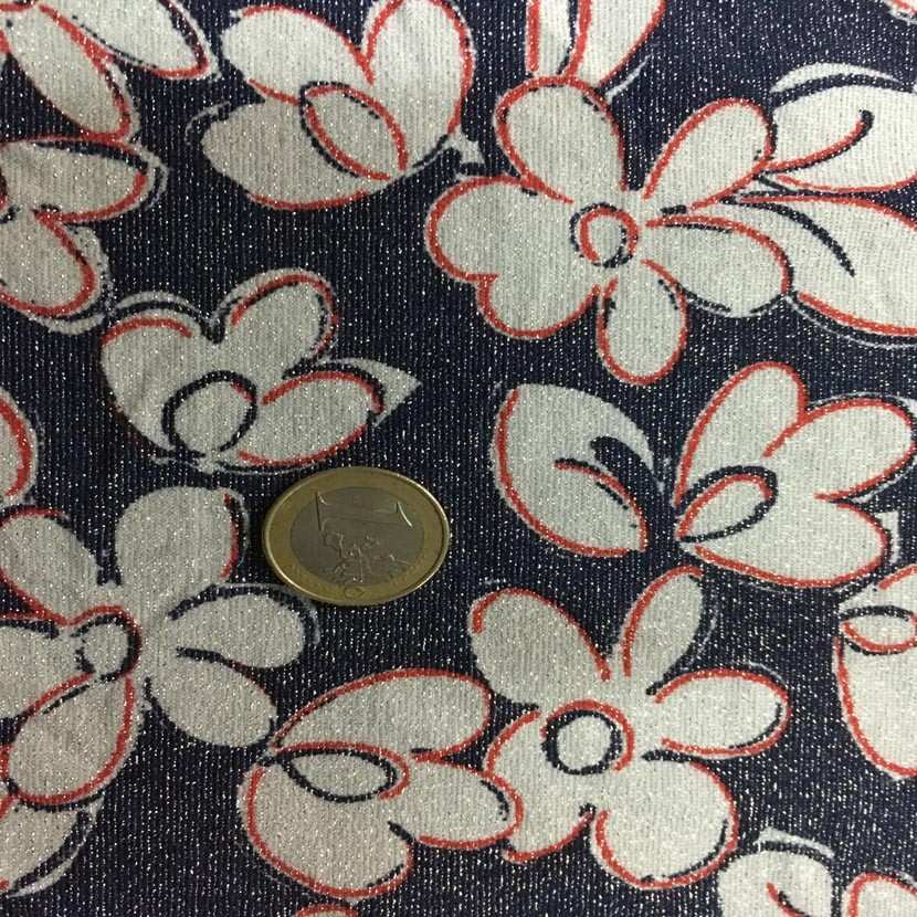 Coupon de lycra lurex metal imprime fleurs bleu blanc et rouge 2 20m5