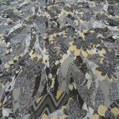 Coupon de mousseline crepon ne imprime marron safran 1 50m