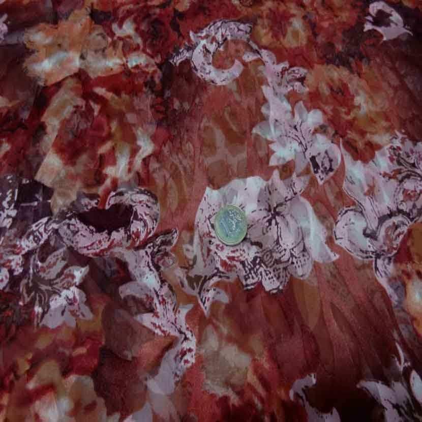 Coupon de mousseline de soie devore imprime camaieu ton marron rose 2m3