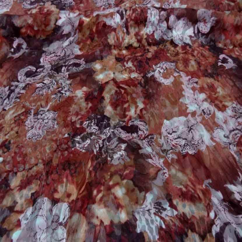 Coupon de mousseline de soie devore imprime camaieu ton marron rose 2m4
