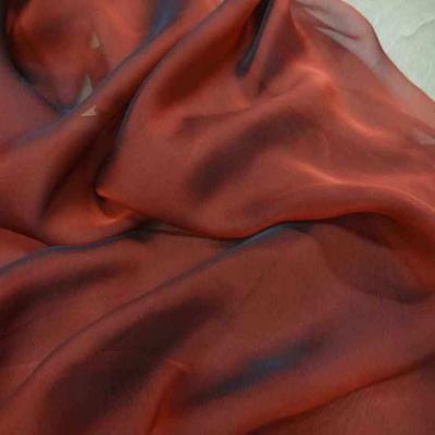 Coupon de mousseline de soie rouge noir 100 soie 1 10m