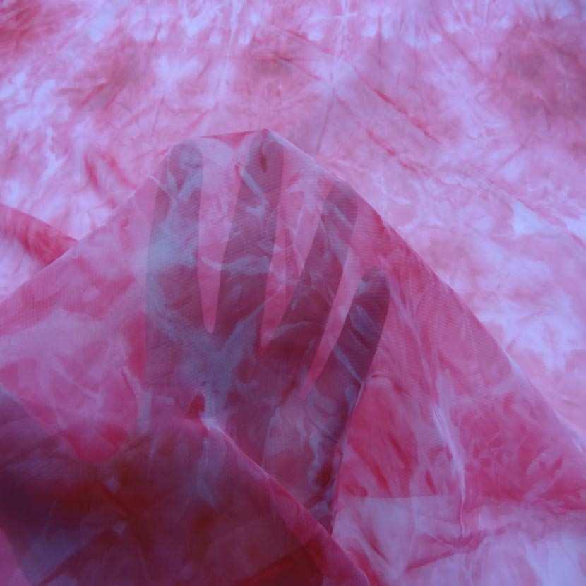 Coupon de mousseline faux uni ton rose 1 60m1