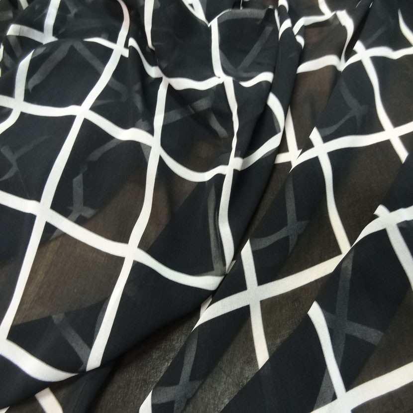 Coupon de mousseline noire a carreaux blanc 1 60m4
