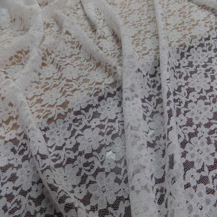Coupon de resille dentelle extensible blanc casse 5 2m