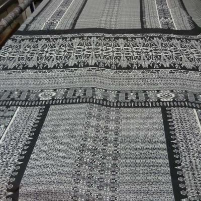 Coupon de satine imprime noir et blanc 1 50m