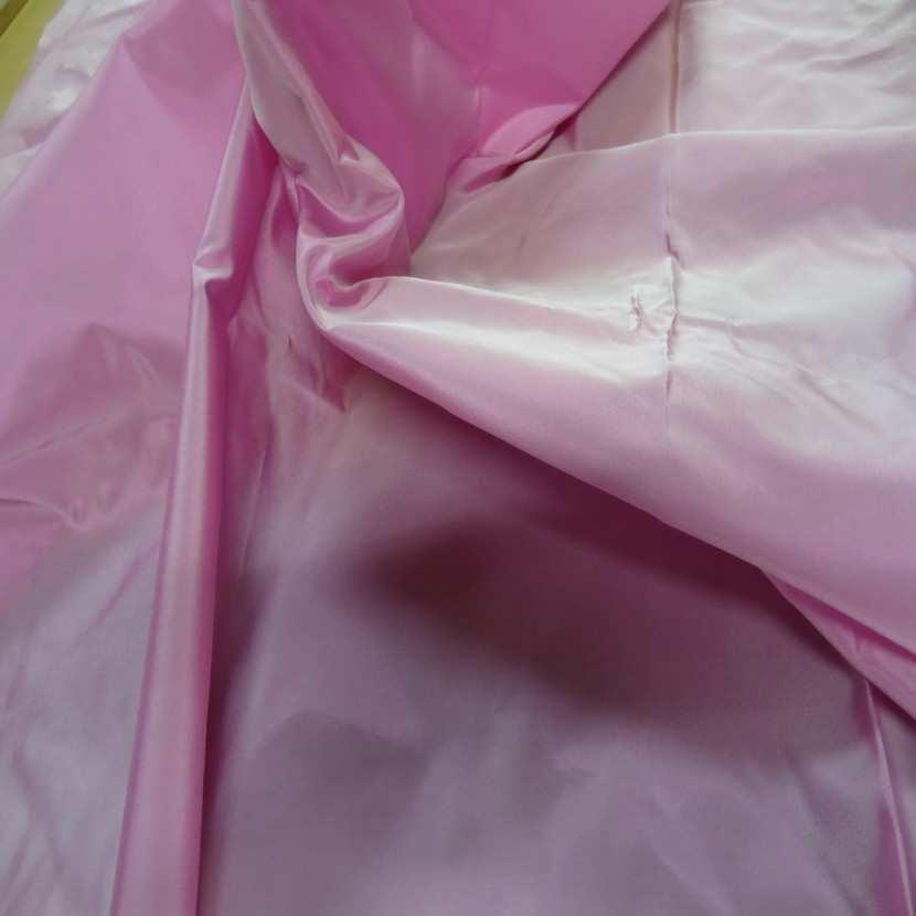 Coupon de taffetas tisse fils rose et blanc 1 10m