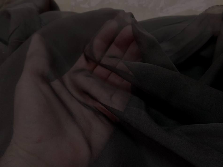 Coupon de tissu mousseline de soie marron2
