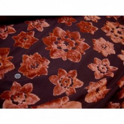 Coupon de tissus d ameublement motifs fleurs devore orange 1m05