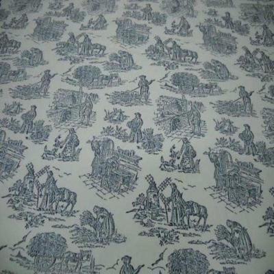Coupon de toile de jouy en polyester lin motifs bleu marine 2 10m