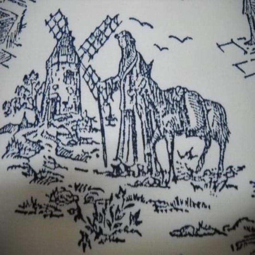 Coupon de toile de jouy en polyester lin motifs bleu marine 2 10m5