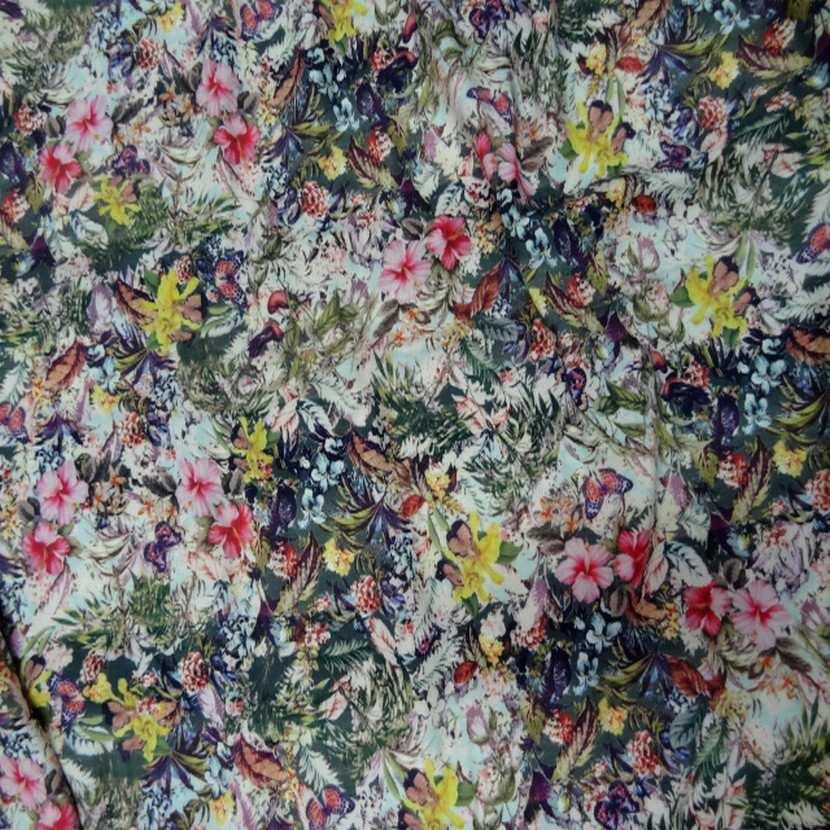Coupon de viscose imprime fleurs7