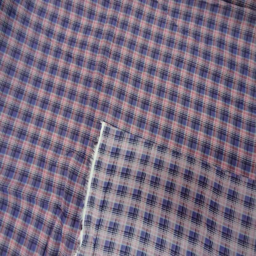 Coupon de voile coton imprime carreaux mauve rose 2 5m 0
