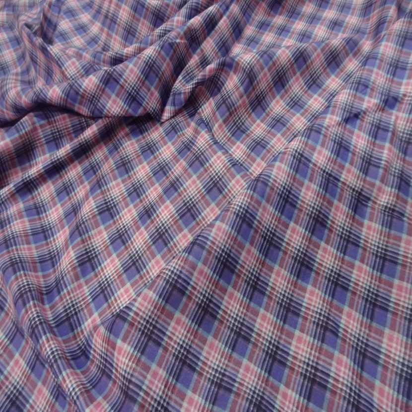 Coupon de voile coton imprime carreaux mauve rose 2 5m