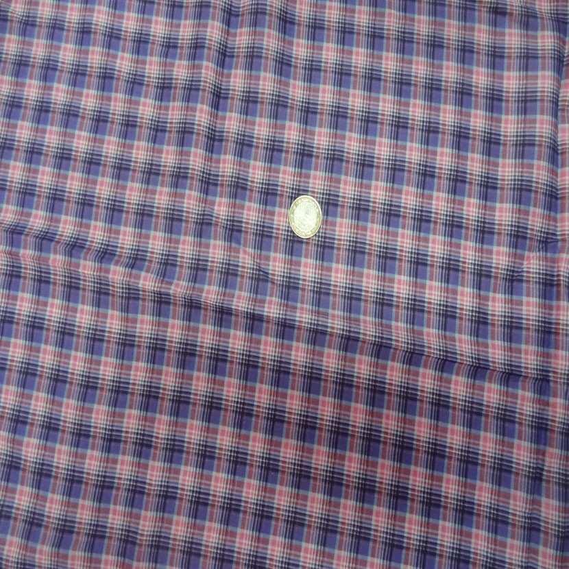 Coupon de voile coton imprime carreaux mauve rose 2 5m3