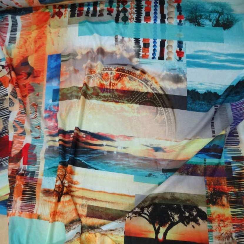 Crepe imprime paysage africain