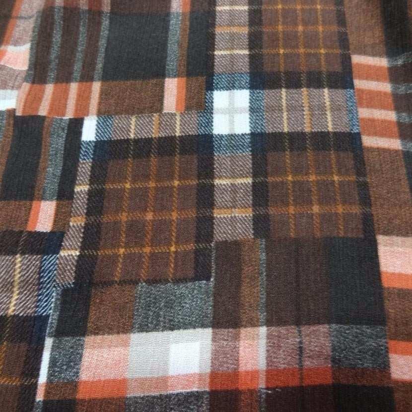 Crepon coton ton marron a carreaux5
