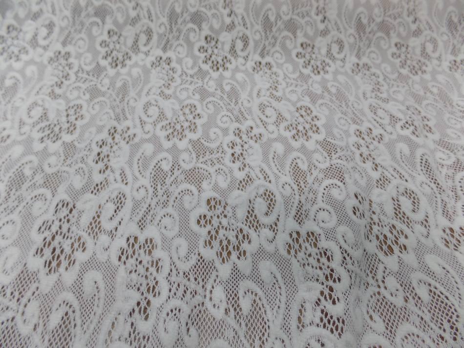achat tissu dentelle de laine mélangé blanc cassé en 1.50m de large