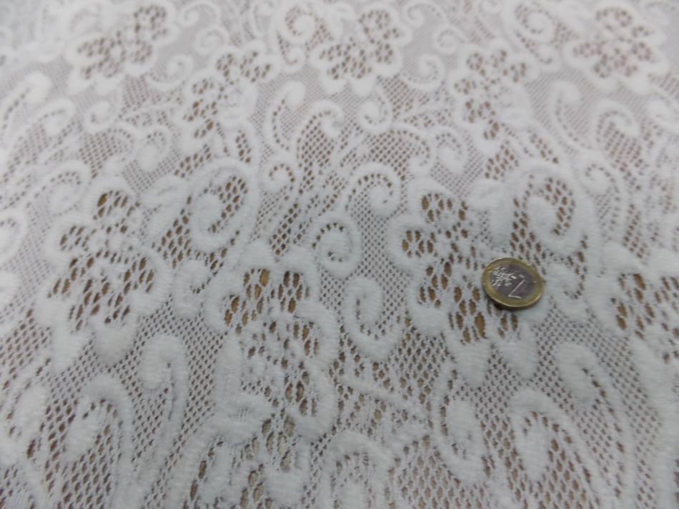 vente de tissu dentelle de laine mélangé blanc cassé en 1.50m de large