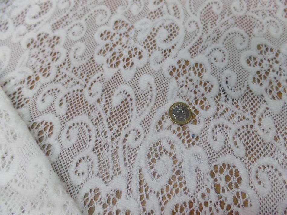 tissu dentelle de laine mélangé blanc cassé en 1.50m pas cher