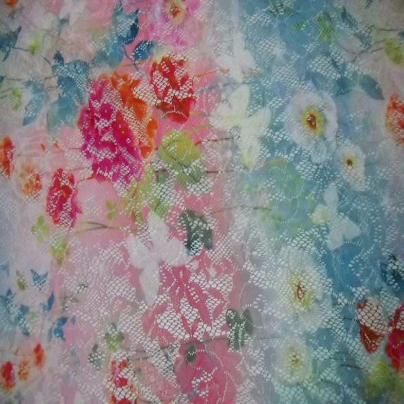Dentelle lycra imprime fleurs papillons ton rose bleu rouge
