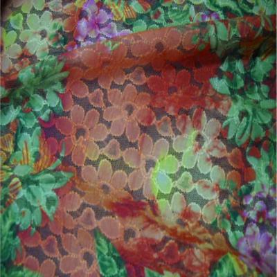 Dentelle lycra imprime fleurs