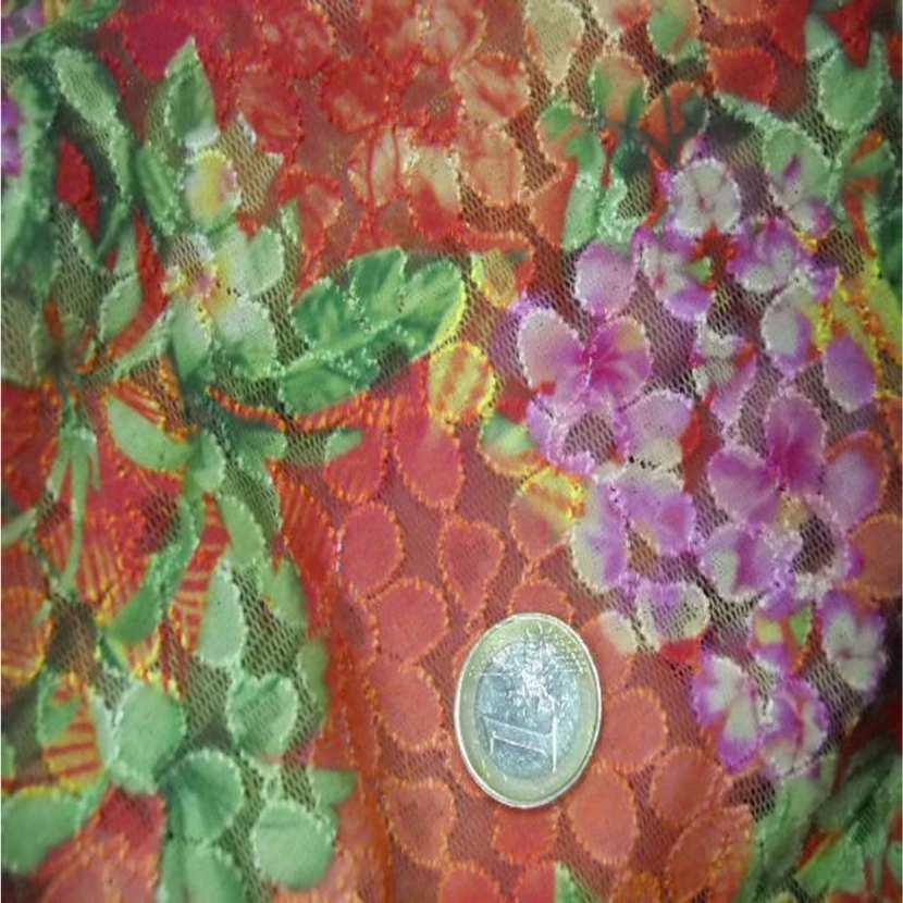 Dentelle lycra imprime fleurs1