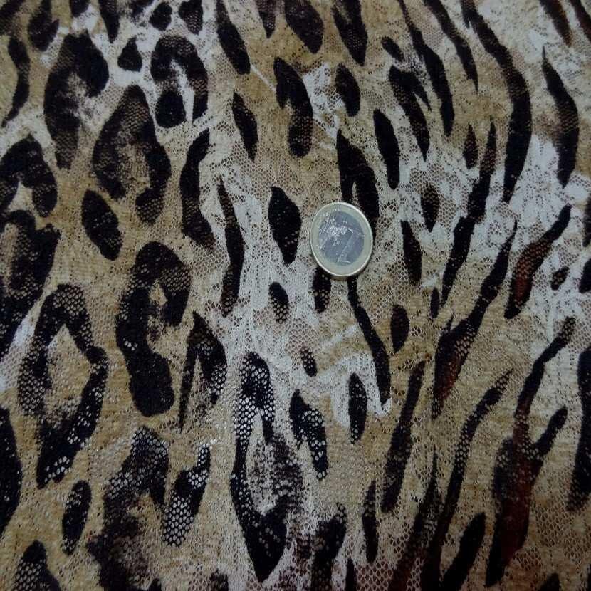 Dentelle lycra imprime leopard0